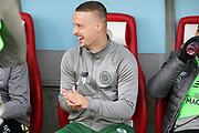 Glasgow Celtic forward Leigh Griffiths (9) on the bench during the Ladbrokes Scottish Premiership match between Hamilton Academical FC and Celtic at New Douglas Park, Hamilton, Scotland on 24 November 2018. Pic Mick Atkins