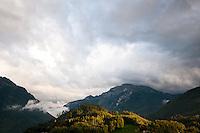 Berner Oberland, Switzerland. Sunset across the mountains as seen from my balcony in Interlaken.