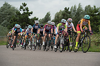 Competitors in action during the Prudential RideLondon Youths Grand Prix - Youth B Girls. Prudential RideLondon 28/07/2017<br /> <br /> Photo: Tom Lovelock/Silverhub for Prudential RideLondon<br /> <br /> Prudential RideLondon is the world's greatest festival of cycling, involving 100,000+ cyclists – from Olympic champions to a free family fun ride - riding in events over closed roads in London and Surrey over the weekend of 28th to 30th July 2017. <br /> <br /> See www.PrudentialRideLondon.co.uk for more.<br /> <br /> For further information: media@londonmarathonevents.co.uk