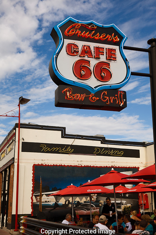 Route 66, Cruisers, Cafe, neon, outdoor, family, dining, Williams, Arizona, AZ