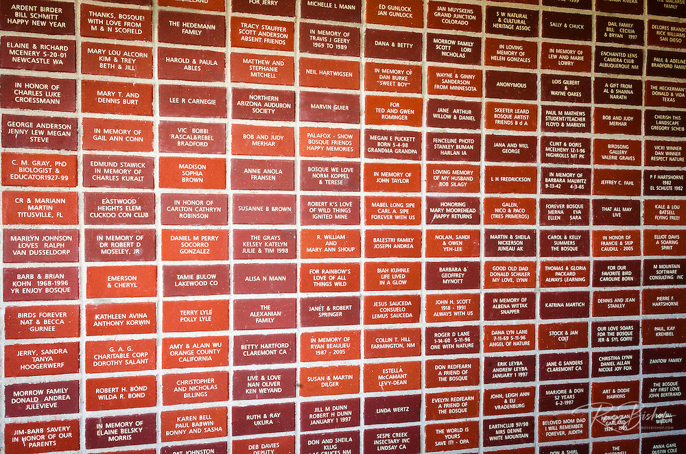 Visitor center donor wall, Bosque del Apache National Wildlife Refuge, New Mexico USA