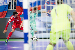 Robinho of Russia and Tiago Brito of Portugal during futsal semifinal match between National teams of Russia and Portugal at Day 9 of UEFA Futsal EURO 2018, on February 8, 2018 in Arena Stozice, Ljubljana, Slovenia. Photo by Urban Urbanc / Sportida
