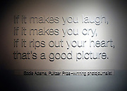 © Licensed to London News Pictures. 02/01/2013. Washington DC, USA .  A quote on a wall by Pulitzer photographer Eddie Adams at the 'Newseum' in Washington DC.  Photo credit : Stephen Simpson/LNP