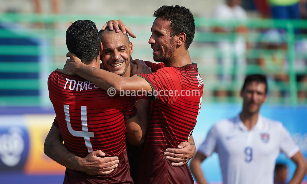 Portugal team-mates Madjer, Torres and Jordan celebrate against USA at the Copa Pilsener 2016.