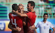 Portugal team-mates Madjer, Torres and Jordan celebrate against USA at the Copa Pilsener 2016.