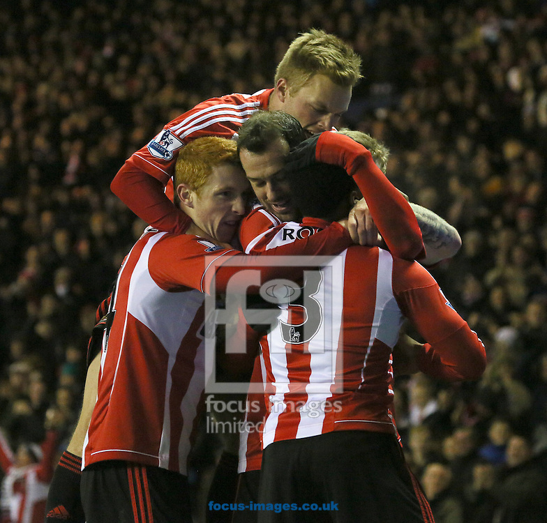 Picture by Paul Gaythorpe/Focus Images Ltd +447771 871632.11/12/2012.Sunderland players celebrate Stephen Fletcher scoring the second goal against Reading during the Barclays Premier League match at the Stadium Of Light, Sunderland.