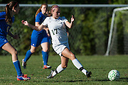 Rice's Amanda Bloom (17) kicks the ball during the girls soccer game between the Milton Yellowjackets and the Rice Green Knights at Rice Memorial High School on Saturday afternoon October 3, 2015 in South Burlington. (BRIAN JENKINS/ for the FREE PRESS)