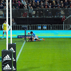 Argentina's Matias Moroni goes over for a disallowed try during the Rugby Championship match between the New Zealand All Blacks and Argentina Pumas at Trafalgar Park in Nelson, New Zealand on Saturday, 8 September 2018. Photo: Dave Lintott / lintottphoto.co.nz