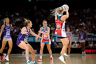 SYDNEY, AUSTRALIA - AUGUST 24: Natalie Haythornthwaite of the Swifts catches the ball during the round 14 Super Netball match between the Swifts and the Queensland Firebirds at Qudos Bank Arena on August 24, 2019 in Sydney, Australia.(Photo by Speed Media/Icon Sportswire)
