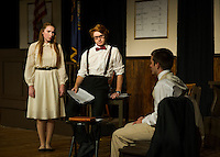 """Rachel Brown (Brittney Pond), Henry Drummond (John Hammond) and Bertram Cates (Sebastian Huot) during Laconia High School's dress rehearsal for """"Inherit The Wind"""" on Wednesday afternoon.  (Karen Bobotas/for the Laconia Daily Sun)"""