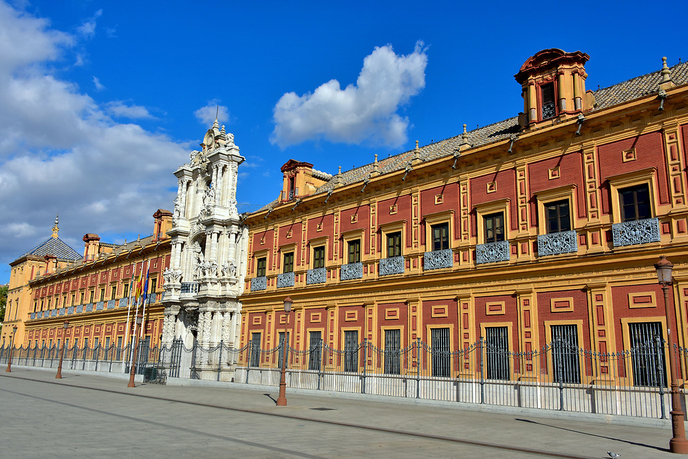 San Telmo Palace in Mar&iacute;a Luisa Park in Seville, Spain<br />