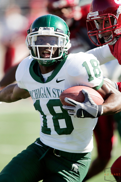 28 October 2006:Michigan State wide receiver Terry Love (18) as  the Indiana Hoosiers beat the the Michigan State Spartans 46-21 in college football in Bloomington, Ind.