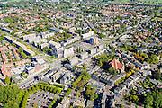 Nederland, Gelderland, Wageningen, 30-09-2015; centrum van Wageningen met onder andere Generaal Foulkesweg, Bergstraat, Stationsstraat en Hotel De Wereld.<br /> Center of Wageningen.<br /> luchtfoto (toeslag op standard tarieven);<br /> aerial photo (additional fee required);<br /> copyright foto/photo Siebe Swart