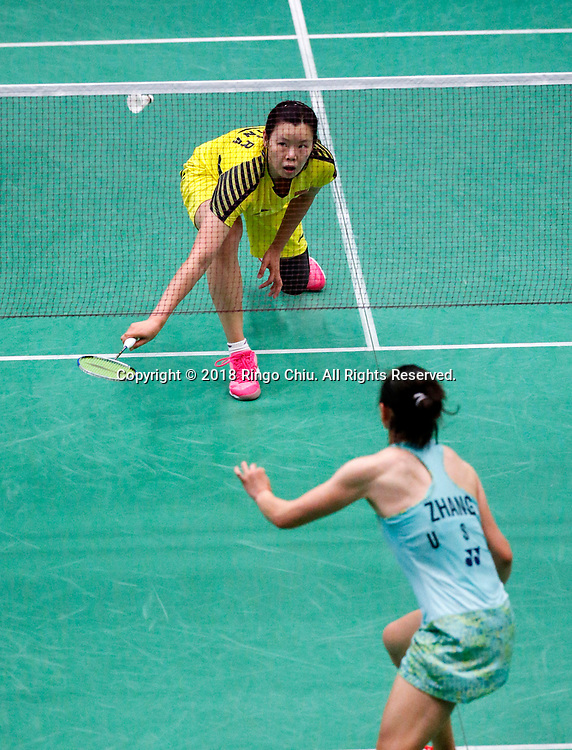 China's Li Xuerui claims title of U.S. Open Badminton Championships women's singles <br /> <br /> Li Xuerui (Top) of China, competes with Beiwen Zhang of USA, during the women's singles final match at the U.S. Open Badminton Championships in Los Angeles, the United State on June 17, 2018. Li won 2-1. (Xinhua/Zhao Hanrong)<br /> (Photo by Ringo Chiu)<br /> <br /> Usage Notes: This content is intended for editorial use only. For other uses, additional clearances may be required.