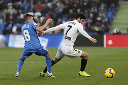 November 10, 2018 - Getafe, Madrid, Spain - Getafe CF's Francisco Portillo and Valencia CF's Gonzalo Guedes during La Liga match between Getafe CF and Valencia CF at Coliseum Alfonso Perez in Getafe, Spain. November 10, 2018. (Credit Image: © A. Ware/NurPhoto via ZUMA Press)