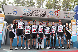 February 14, 2018 - Lagos, Portugal - UAE Team Emirates before the 1st stage of the cycling Tour of Algarve between Albufeira and Lagos, on February 14, 2018. (Credit Image: © Str/NurPhoto via ZUMA Press)