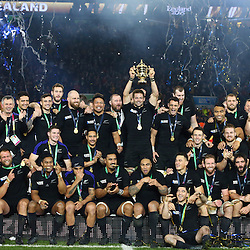 LONDON, ENGLAND - OCTOBER 31: General views of New Zealand winners of the Rugby World Cup 2015 during the Rugby World Cup Final match between New Zealand vs Australia Final, Twickenham, London on October 31, 2015 in London, England. (Photo by Steve Haag)