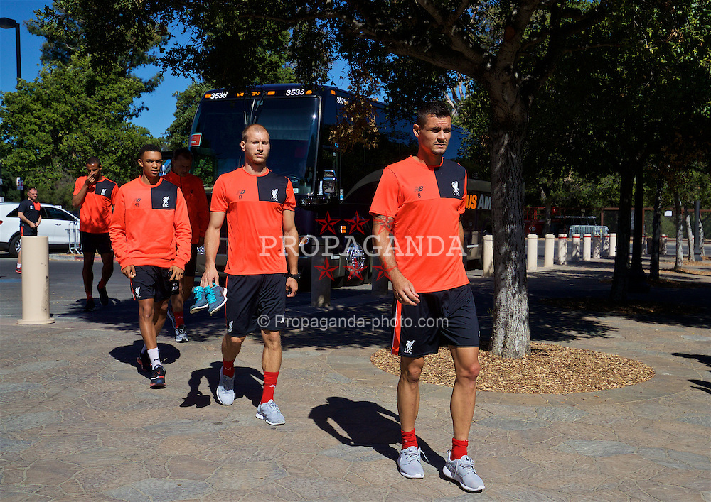 STANFORD, USA - Thursday, July 21, 2016: Liverpool's new signing Ragnar Klavan and Dejan Lovren arrive for a training session in the Laird Q. Cagan Stadium at Stanford University on day one of the club's USA Pre-season Tour. (Pic by David Rawcliffe/Propaganda)