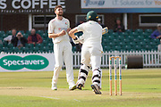 Richard Gleeson bowling to George Rhodes during the Specsavers County Champ Div 2 match between Leicestershire County Cricket Club and Lancashire County Cricket Club at the Fischer County Ground, Grace Road, Leicester, United Kingdom on 23 September 2019.