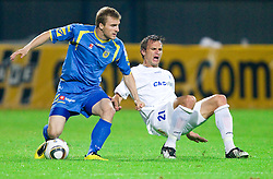 Jernej Smukavec of Domzale vs Ales Kacicnik of Celje  during the football match between NK Domzale and MIK CM Celje, played in the 10th Round of Prva liga football league 2010 - 2011, on September 22, 2010, Spors park, Domzale, Slovenia. Domzale defeated Celje 1 - 0. (Photo by Vid Ponikvar / Sportida)