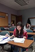 Lianghua Guo, a chinese business student (goes by her american name, Karen)  studies for a final exam late on Tuesday, March 15, 2011 in Copeland Hall.