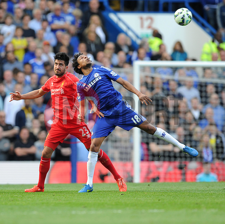 Chelsea's Loic Remy battles for a high ball with l23\ - Photo mandatory by-line: Alex James/JMP - Mobile: 07966 386802 - 10/05/2015 - SPORT - Football - London - Stamford Bridge - Chelsea v Liverpool - Barclays Premier League