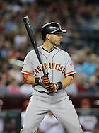 PHOENIX, AZ - JUNE 07:  Marco Scutaro #19 of the San Francisco Giants at bat against the Arizona Diamondbacks in the first inning at Chase Field on June 7, 2013 in Phoenix, Arizona.  The Diamondbacks defeated the Giants 3-1.  (Photo by Jennifer Stewart/Getty Images) *** Local Caption *** Marco Scutaro
