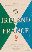 Irish Rugby Football Union, Ireland v France, Five Nations, Landsdowne Road, Dublin, Ireland, Saturday 18th April, 1959,.18.4.1959, 4.18.1959,..Referee- D G Walters, Welsh Rugby Union, ..Score- Ireland 9 - 5 France, ..Irish Team, ..N J Henderson, Wearing number 15 Irish jersey, Full Back, N.I.F.C, Rugby Football Club, Belfast, Northern Ireland, ..A J O'Reilly, Wearing number 14 Irish jersey, Right Wing, Old Belvedere Rugby Football Club, Dublin, Ireland, and, Leicester Rugby Football Club, Leicester, England, ..M K Flynn, Wearing number 13 Irish jersey, Right Centre, Wanderers Rugby Football Club, Dublin, Ireland, ..D Hewitt, Wearing number 12 Irish jersey, Left centre, Queens University Rugby Football Club, Belfast, Northern Ireland,..N H Brophy, Wearing number 11 Irish jersey, Left wing, University College Dublin Rugby Football Club, Dublin, Ireland, ..M A F English, Wearing number 10 Irish jersey, Outside Half, Bohemians Rugby Football Club, Limerick, Ireland,..A A Mulligan, Wearing number 9 Irish jersey, Scrum Half, London Irish Rugby Football Club, Surrey, England, ..B G Wood, Wearing number 1 Irish jersey, Forward, Garryowen Rugby Football Club, Limerick, Ireland, ..A R Dawson, Wearing number 2 Irish jersey, Captain of the Irish team, Forward, Wanderers Rugby Football Club, Dublin, Ireland, ..S Millar, Wearing number 3 Irish jersey, Forward, Ballymena Rugby Football Club, Antrim, Northern Ireland,..W A Mulcahy, Wearing number 4 Irish jersey, Forward, University College Dublin Rugby Football Club, Dublin, Ireland, ..M G Culliton, Wearing number 5 Irish jersey, Forward, Wanderers Rugby Football Club, Dublin, Ireland, ..N Murphy, Wearing number 6 Irish jersey, Forward, Cork Constitution Rugby Football Club, Cork, Ireland,..P J A O' Sullivan, Wearing  Number 7 Irish jersey, Forward, Galwegians Rugby Football Club, Galway, Ireland,..J R Kavanagh, Wearing number 8 Irish jersey, Forward, Wanderers Rugby Football Club, Dublin, Ireland, ..French Team, ..P Lacaze, Weari