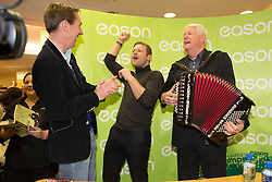 Repro Free: 13/11/2014 Dermot O&rsquo;Leary got a suprise visit from Ryan Tubridy and Brendan Shine at the signing of his new book, &lsquo;The Soundtrack to My Life&rsquo;, today in Eason O&rsquo;Connell Street where they gave the people an rendition of &quot;Catch me if you can&quot; the name of the first chapter of his book. O&rsquo;Leary&rsquo;s book, The Soundtrack to My Life, is currently on sale in Eason stores nationwide and online at www.easons.com retailing at &euro;18.99. Picture Andres Poveda<br />  <br /> For further information, please contact: <br /> Shane Lennon @ Wilson Hartnell<br /> 087 900 0320 / 01 669 0030