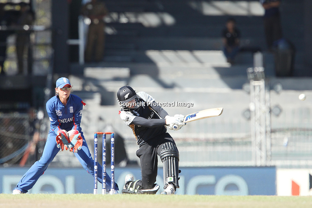 Nicola Browne of New Zealand  during the ICC Women's World Twenty20 Semi final match between England and New Zealand held at the Premadasa Stadium in Colombo, Sri Lanka on the 4th October  2012<br /> <br /> Photo by Ron Gaunt/SPORTZPICS/PHOTOSPORT