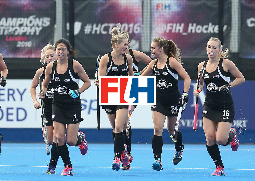 LONDON, ENGLAND - JUNE 21: Stacey Michelsen of New Zealand celebrates after scoring their first goal during the FIH Women's Hockey Champions Trophy match between New Zealand and Great Britain at Queen Elizabeth Olympic Park on June 21, 2016 in London, England.  (Photo by Alex Morton/Getty Images)