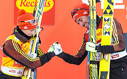 27.01.2017, Casino Arena, Seefeld, AUT, FIS Weltcup Nordische Kombination, Seefeld Triple, Siegerehrung, 1. Tag, im Bild v.l.: Eric Frenzel (GER, 2. Platz), Sieger Johannes Rydzek (GER) // f.l.: 2nd placed Eric Frenzel of Germany Winner Johannes Rydzek of Germany celebrate on Podium after the 1st Day of the FIS Nordic Combined World Cup Seefeld Triple at the Casino Arena in Seefeld, Austria on 2017/01/27. EXPA Pictures © 2017, PhotoCredit: EXPA/ JFK