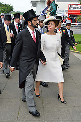SHEIKH MOHAMMED BIN RASHID AL MAKTOUM and PRINCESS HAYA BINT AL HUSSEIN at the Investec Derby at Epsom Racecourse, Epsom, Surrey on 4th June 2016.