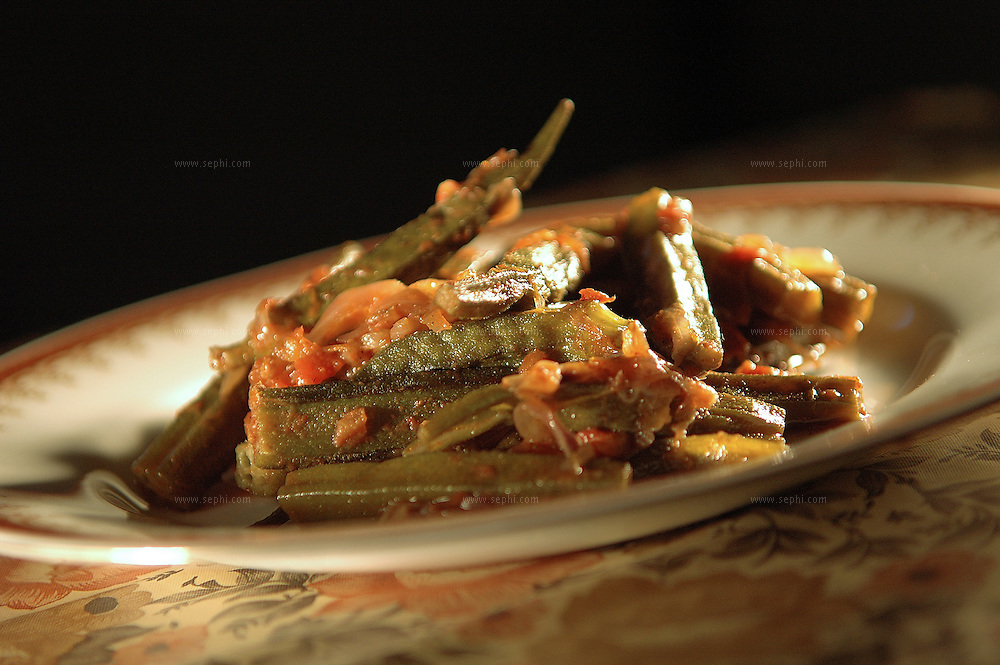 Bindi tamatar - Okra and tomatoes ( Recipe available upon request )