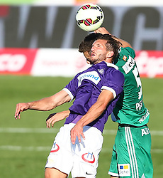 24.08.2014, Generali Arena, Wien, AUT, 1. FBL, FK Austria Wien vs SK Rapid Wien, 6. Runde, im Bild Alexander Gorgon, (FK Austria Wien, #20) und Thanos Petsos, (SK Rapid Wien, #5) // during Austrian Football Bundesliga Match, 6th Round, between FK Austria Vienna and SK Rapid Vienna at the Generali Arena, Vienna, Austria on 2014/08/24. EXPA Pictures © 2014, PhotoCredit: EXPA/ Thomas Haumer
