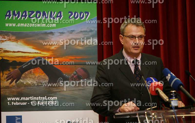 Marko Pavliha at press conference before departure to South America - Peru, where Martin Strel wants to set a world record by swimming 5268 Kms (3274 Miles) down the Amazon river, on January 23, 2007 in BTC, Ljubljana, Slovenia. (Photo by Vid Ponikvar / Sportida)