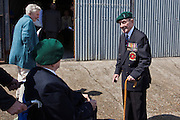 Alan Saunders meets William Mellow, both Dieppe Raid Veterans at the 71st Anniversary of the Dieppe Raid held at Newhaven Fort, East Sussex followed by a Memorial Service at the Canadian Memorial at South Way. March of the Standard Bearers and Veterans from Denton Island to the Memorial.