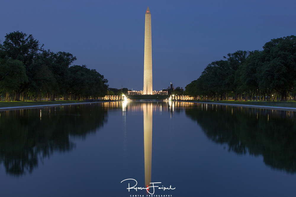 As seen from the edge of the reflecting pool from the Lincoln Monument.