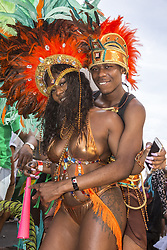 August 28, 2017 - London, England, United Kingdom - Notting Hill Carnival main parade attracted thousands to the streets of Lodnon, UK on August 28, 2017. Europe's biggest street festival is full of colours, music and dance. (Credit Image: © Dominika Zarzycka/NurPhoto via ZUMA Press)