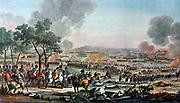 Battle of Wagram collared litho. Caption originally read, Bataille de Wagram, Livrée de 7 Juliet 1809. Date early 19th century.  Charles Horace Vernet (known as Carle Vernet, 1758-1836) The Battle of Wagram (July 5–6, 1809)