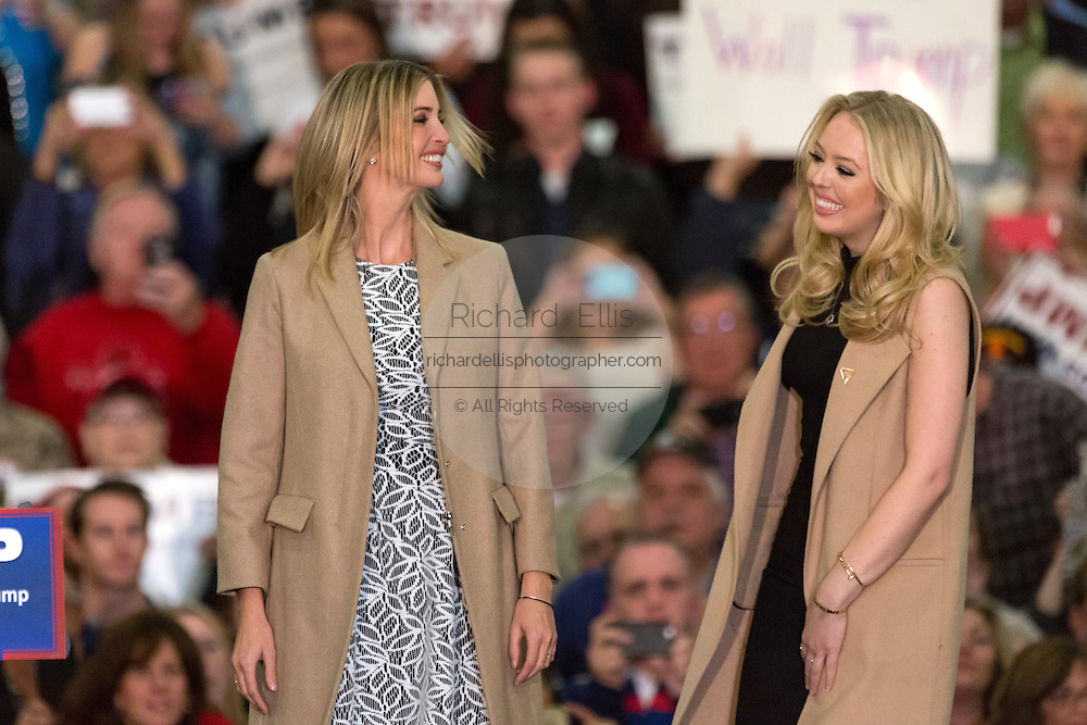 Republican presidential candidate billionaire Donald Trump's daughters Ivanka, left, and Tiffany during a campaign rally at the Myrtle Beach Convention Center November 24, 2015 in Myrtle Beach, South Carolina.