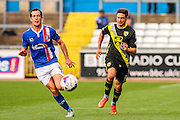 Morecambe FC Midfielder Kevin Ellison takes on Carlisle United Midfielder Luke Joyce during the Sky Bet League 2 match between Carlisle United and Morecambe at Brunton Park, Carlisle, England on 10 October 2015. Photo by Craig McAllister.