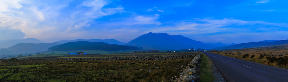 The Mournes viewed from Moyad Road near Attical on the way to Spelga Reservoir including, from left, Slievemageogh, Eagle Mountain, Crocknafeola Wood, Slieve Muck and Doan.<br />