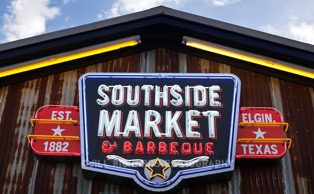 Southside Market and Barbeque in Elgin Texas is one of several family-owned restaurant stops along the BBQ Trail in Texas, which is know for its spicy sausage links and brisket.