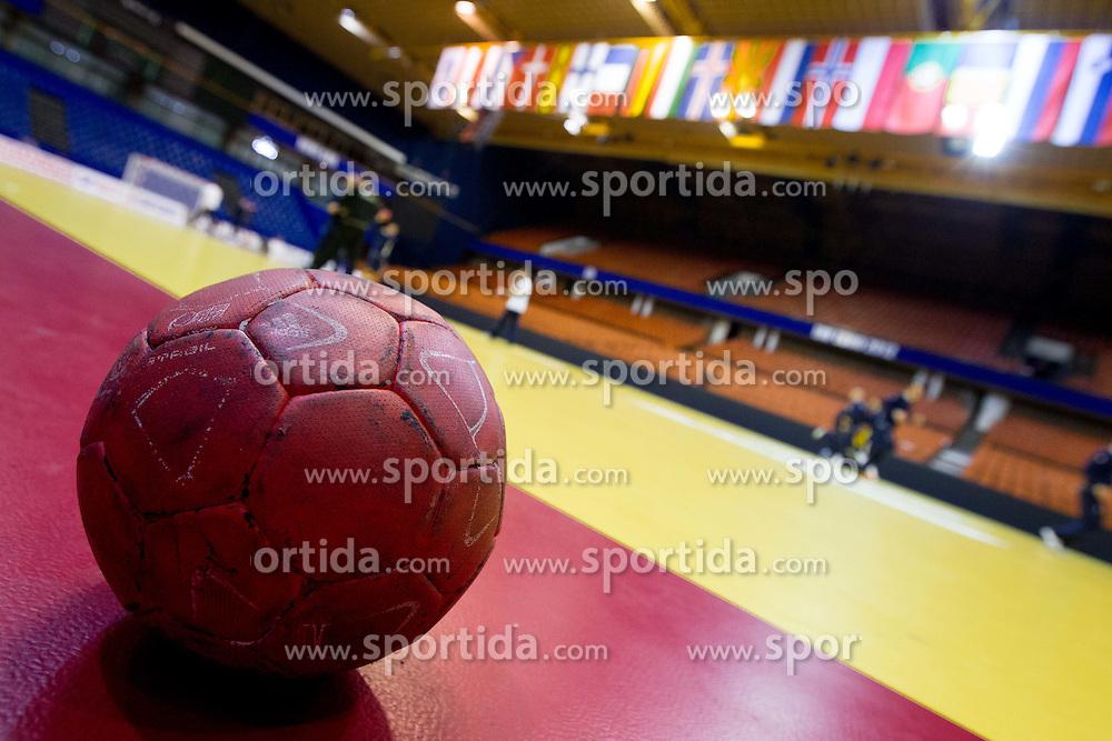 Ball during practice session of Slovenia National Handball team during Main Round of 10th EHF European Handball Championship Serbia 2012, on January 21, 2012 in Spens Sports Center, Novi Sad, Serbia. (Photo By Vid Ponikvar / Sportida.com)