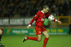 WOLVERHAMPTON, ENGLAND - Wednesday, January 21st, 2004: Liverpool's Bruno Cheyrou scores the first goal against against Wolverhampton Wanderers during the Premiership match at Molineux. (Pic by David Rawcliffe/Propaganda)