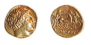 Philip II 359-336 BCE (Father of Alexander) Gold stater 8.5 Grams Left Head of Philip Right Charioteer
