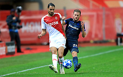AS Monaco's Nacer Chadli (left) and Club Brugge's Mats Rits battle for the ball