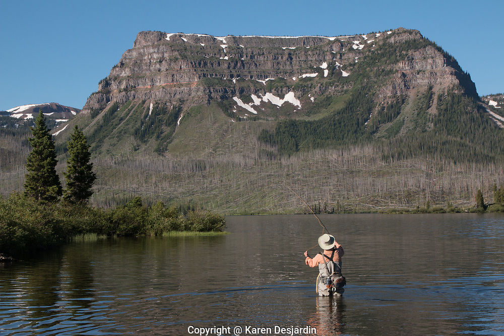 A fly fisherman angling for trout in Trappers Lake, Colorado, part of the Flat Tops Wilderness Area.