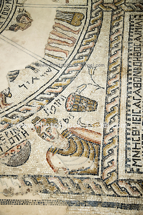 Israel, Galilee, Zippori National Park A mishnaic-period city with an abundance of mosaics. Details of the Zodiac mosaic on the synagogue floor